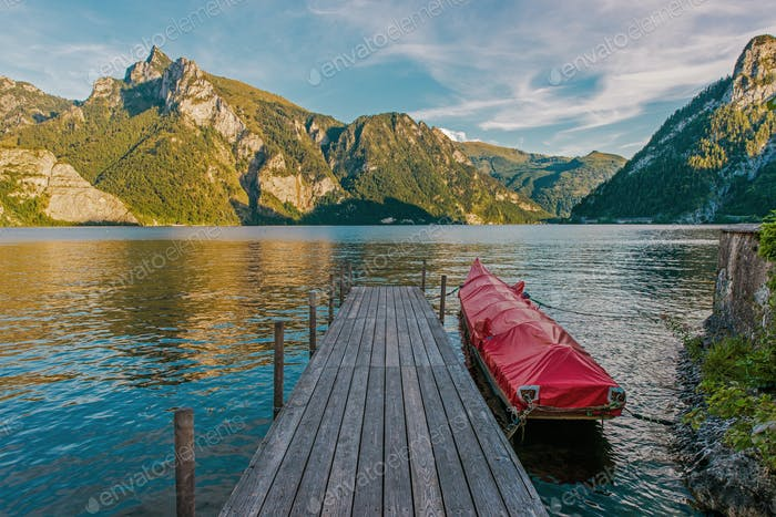 Wooden Deck on the Scenic Traunsee Lake in the Upper Austria Region