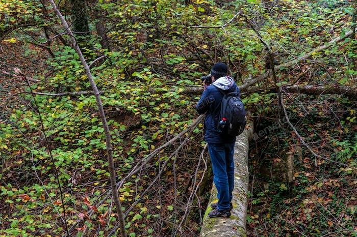Reisende mit einer Kamera im Herbstwald an einem bewölkten Tag