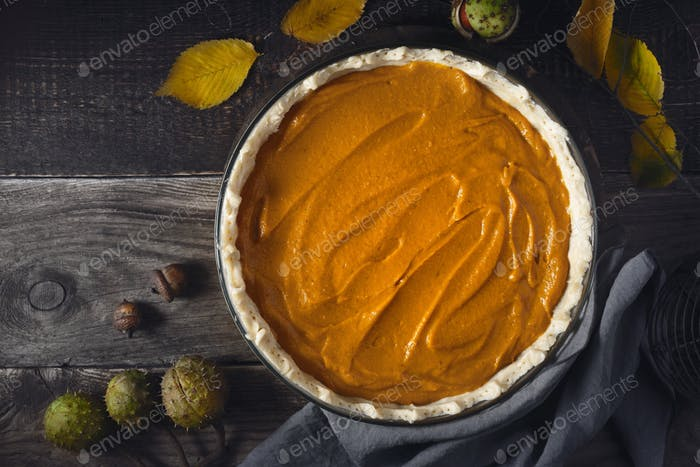 Raw pumpkin pie  on the wooden table horizontal