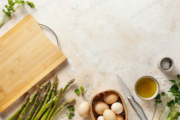 Asparagus and organic farm eggs