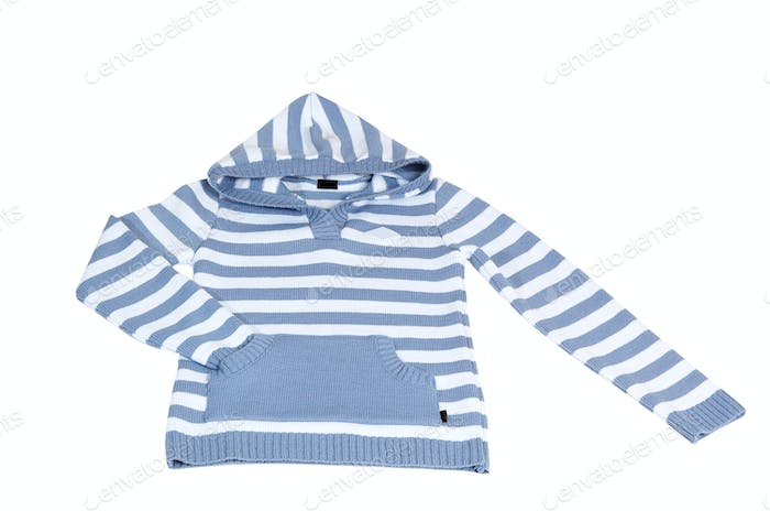 Woolen striped sweater on a white.