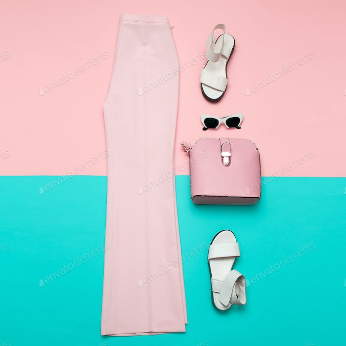 Stylish pink clothing for ladies. Fashion trousers and accessori