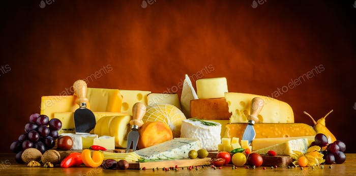 Cheese with Fruits and Vegetables