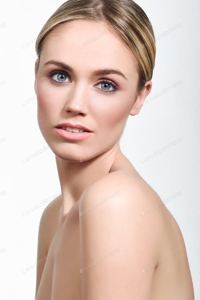 Beautiful blonde woman with clean fresh skin close up
