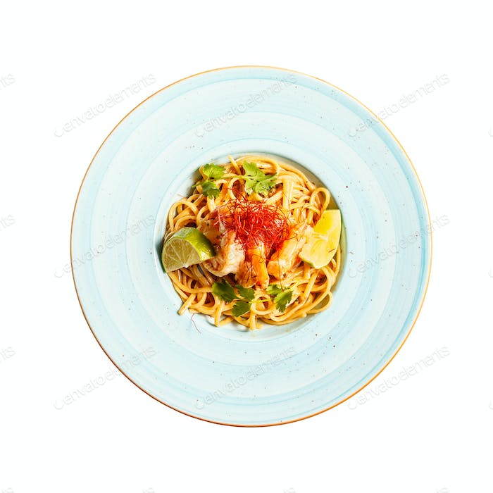 Pasta linguine with green spices