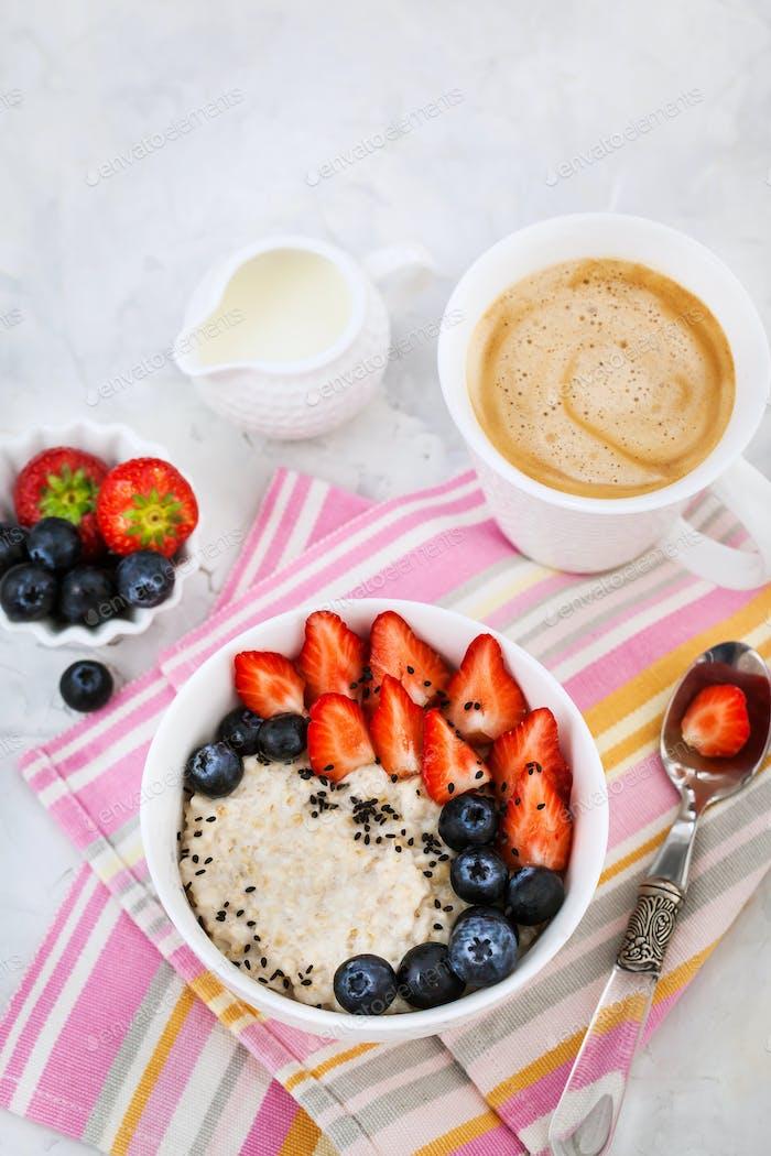 Healthy breakfast with oatmeal porridge
