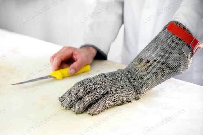 Guante de protección para carniceros de malla metálica