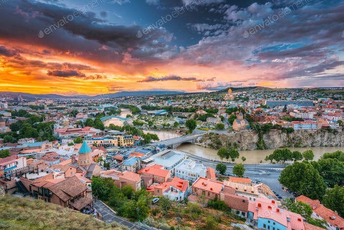 Tbilisi, Georgiai. Colorful Sunset. Summer Cityscape.
