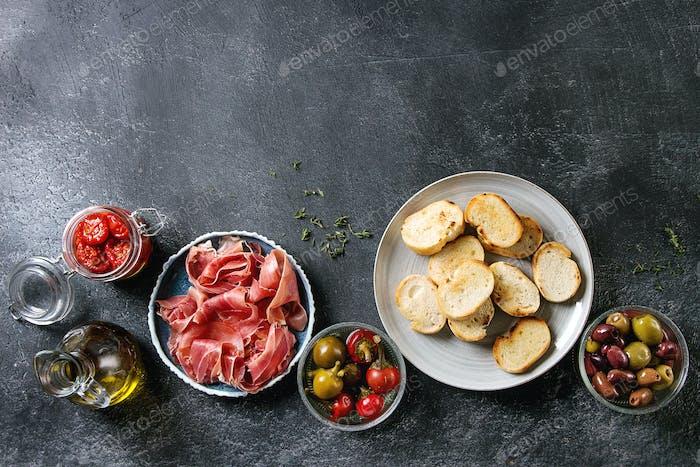 Ingredients for tapas