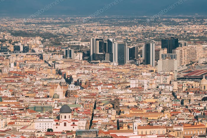 Naples, Italy. Top View Cityscape Skyline With Famous Landmarks