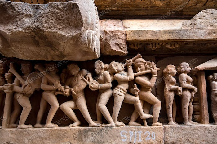 Close up genre stone carving in Lakshman Temple