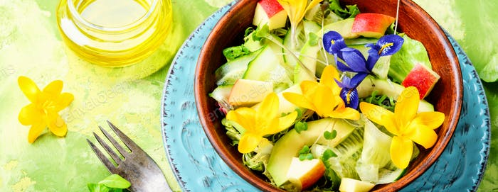 Fresh vegan salad with edible flowers