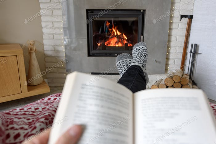 Hygge concept with open book