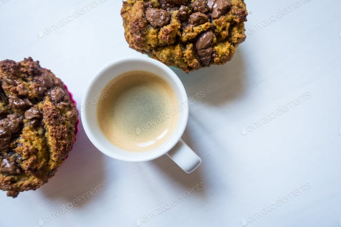 Espresso break with homemade chocolate chips muffins