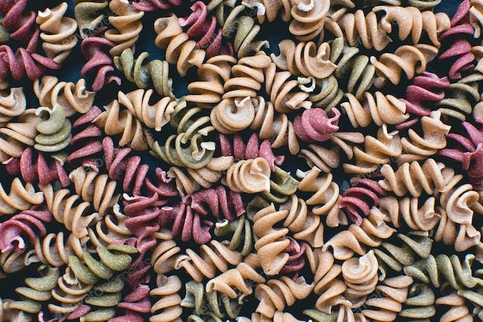 Full frame of colorful pasta fusili