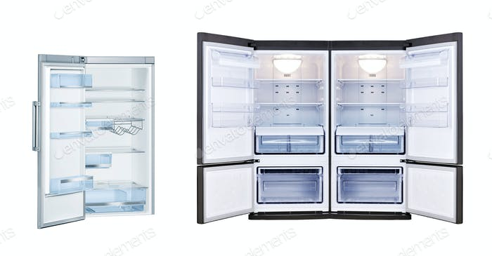 Refrigerators with open doors isolated