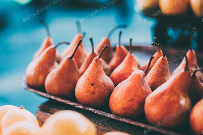 Tbilisi, Georgia. Close View Of Fresh Pears In Tray On Showcase