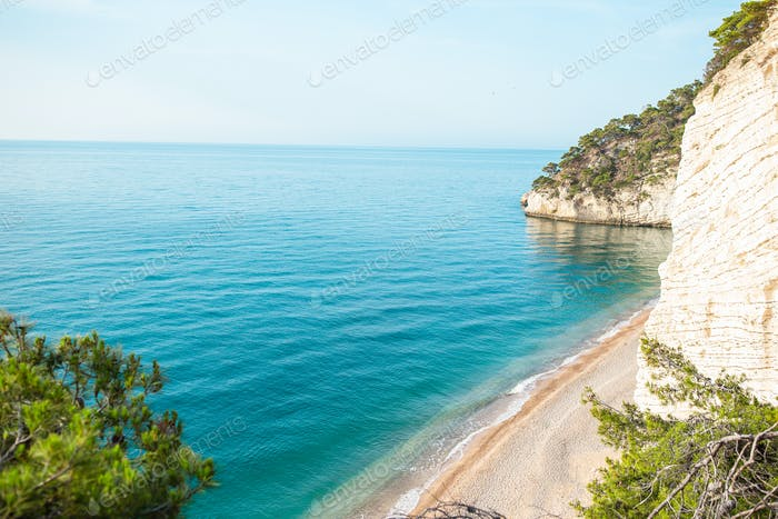 Beautiful beach with clear water in the reserve Gargano