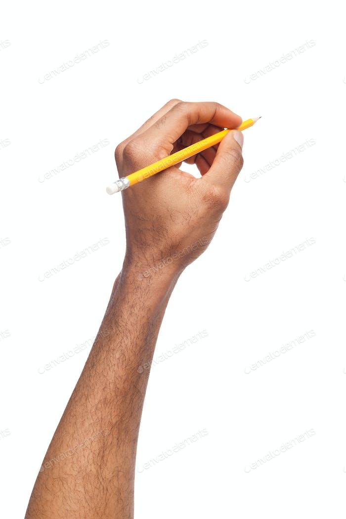 Schwarz männliche Hand halten Bleistift