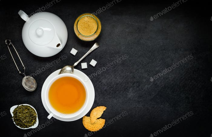 Tea with Teapot and Ingredients