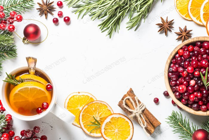 Christmas fruit tea from cranberry, rosemary, orange and anise o