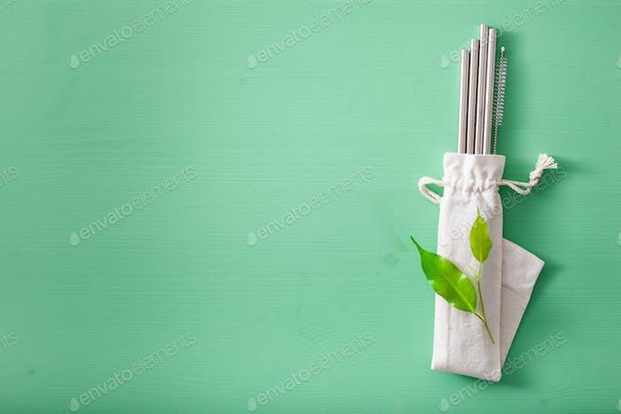 eco-friendly reusable metal drinking straw. zero waste concept