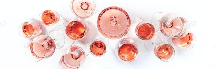 Rose wine glasses on wine tasting. Degustation different varieties of pink wine concept