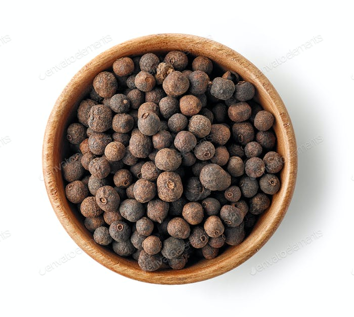 wooden bowl of aromatic pepper