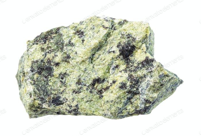 unpolished Serpentinite rock isolated on white