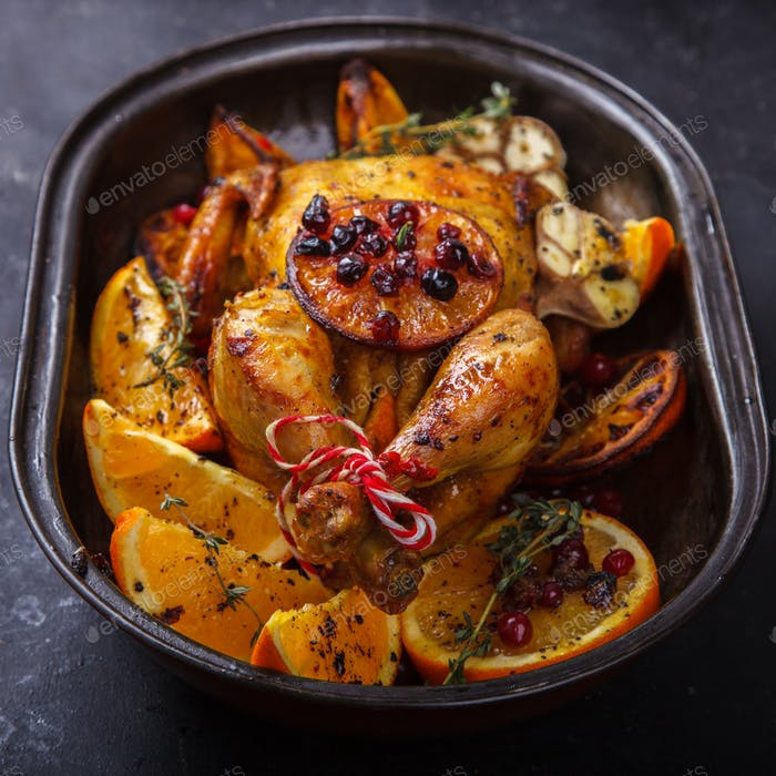 Chicken baked with oranges
