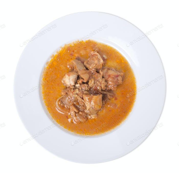 Roast chicken with gravy.