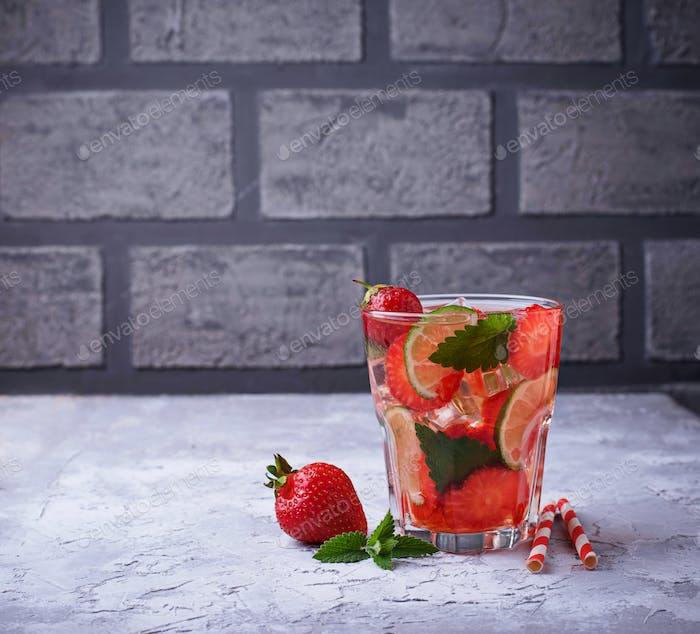 Summer fresh drink strawberry mojito