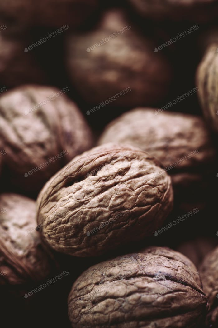 Walnuts with and without shells (filling the picture). Background of fresh walnuts