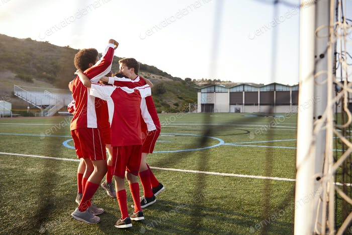 Male High School Soccer Players Having Team Talk