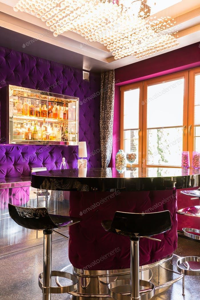 Extraordinary interior with purple bar