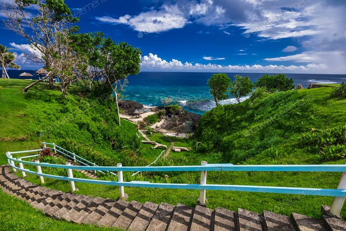 Stairs to the beach, tropical Upolu, Samoa Islands
