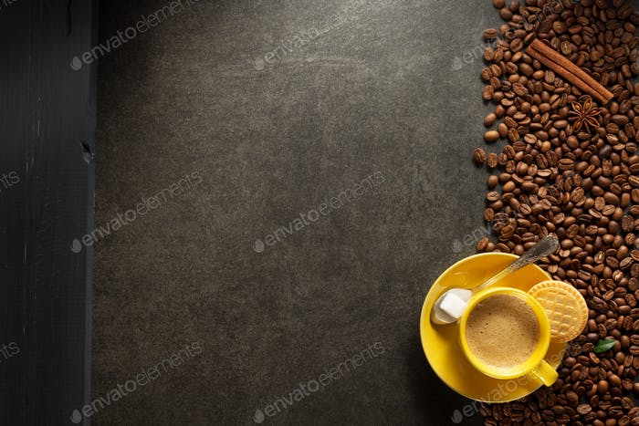cup of coffee and beans background