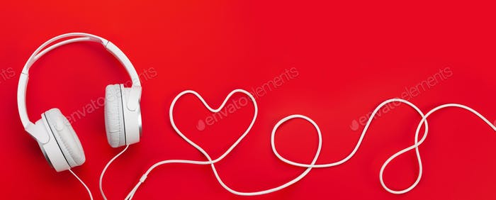 Headphones with heart shaped cable
