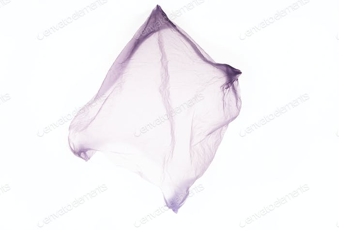 Clear disposable plastic bag isolated on white background