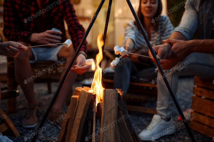 Freunde sitzen am Lagerfeuer am Abend
