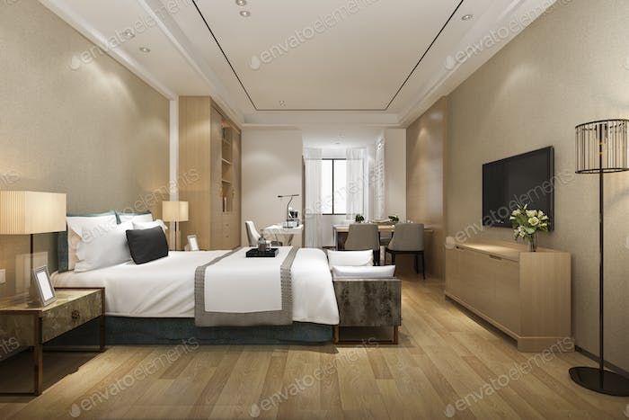 3d rendering luxury modern bedroom suite in hotel with dining table