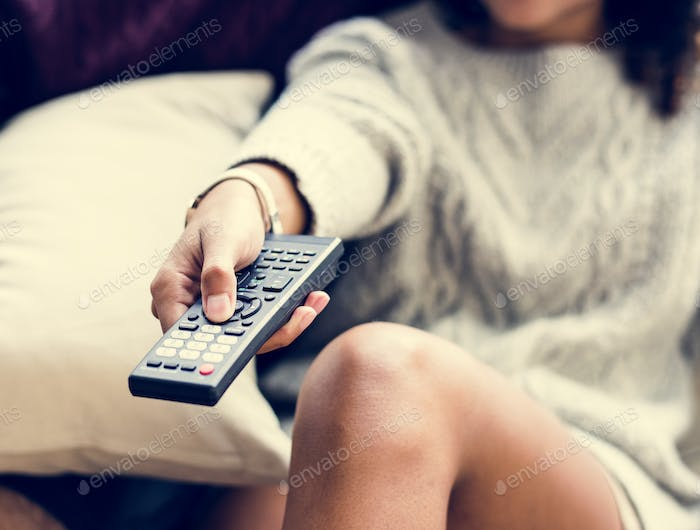 Couple watching a tv show together