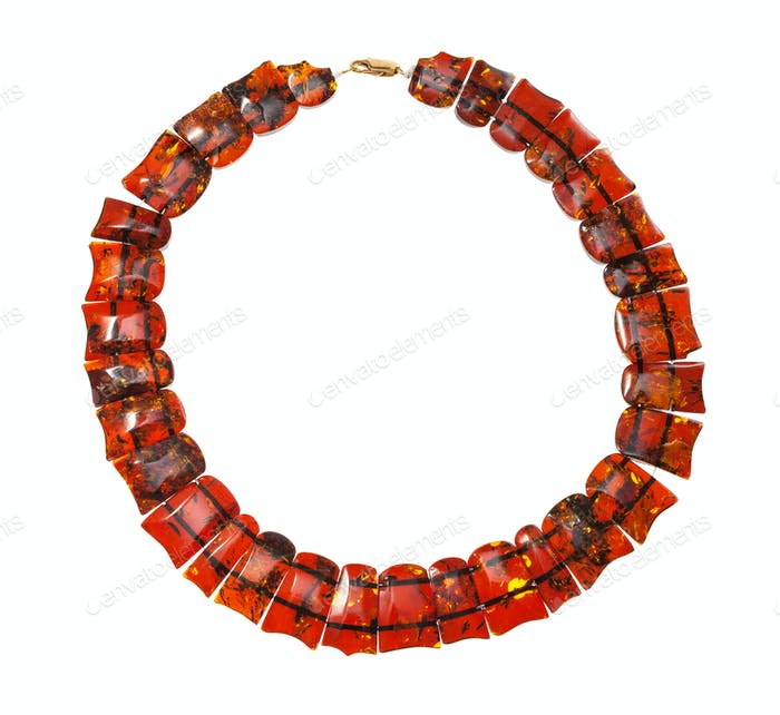 necklace from polished faceted amber isolated