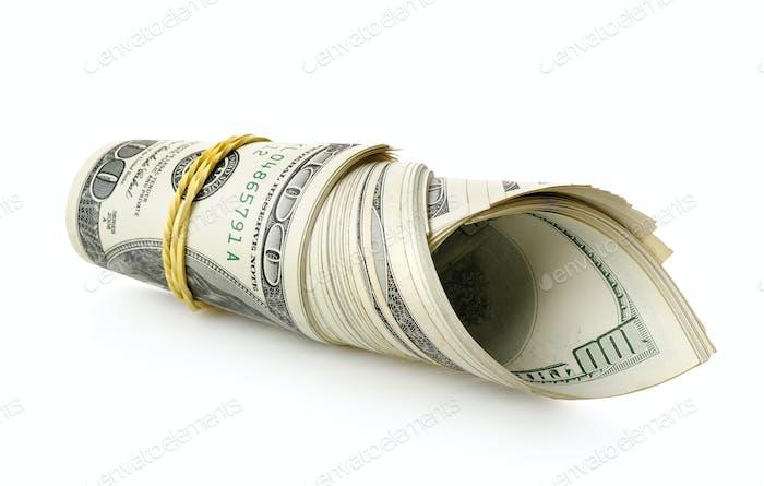 Geld in ein Gummiband eingewickelt
