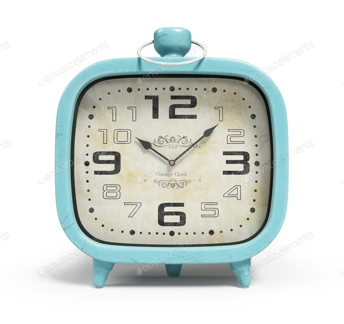 Retro alarm clock isolated on white background 3D rendering