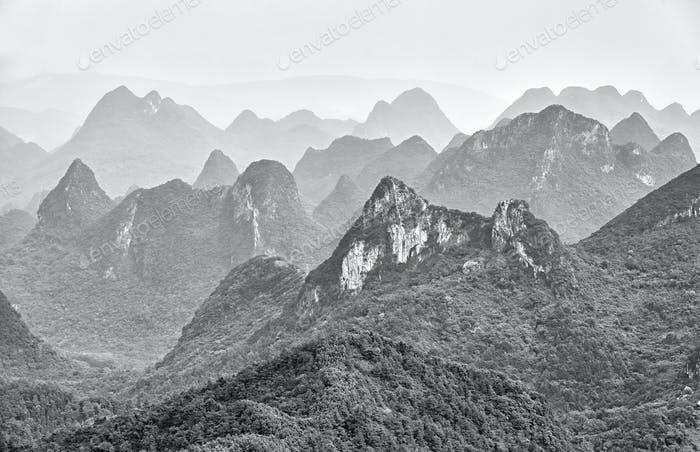 Black and white picture of karst formations.