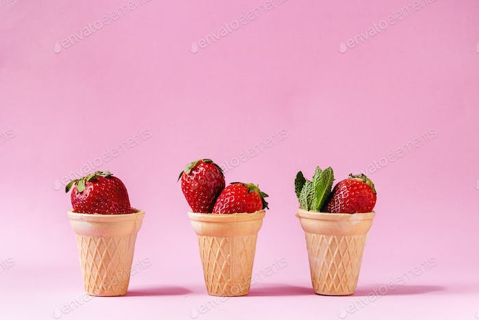 Strawberries in waffle cup