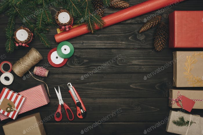 top view of composition of christmas gifts and decorations