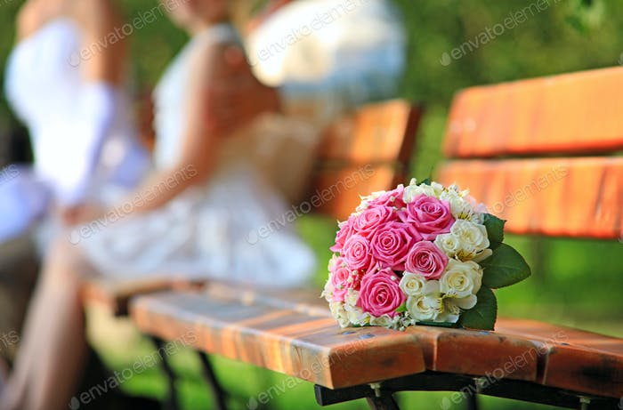 Bride's bouquet on a bench