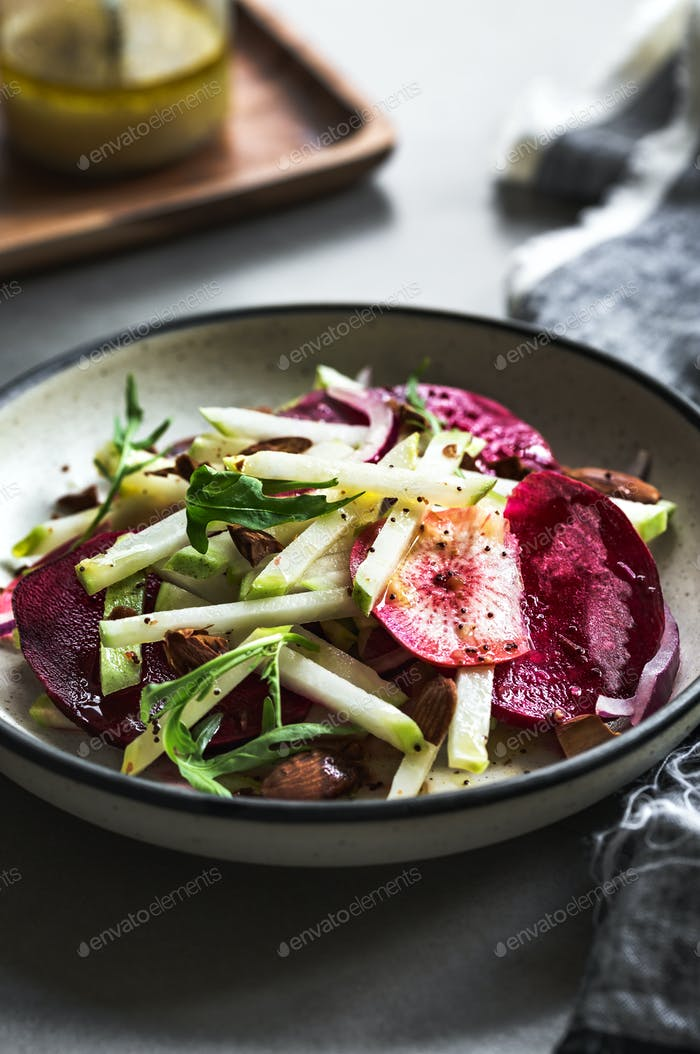 Kohlrabi ,Radish,Beetroot and Almond Salad with Poppy seed Vinaigrette